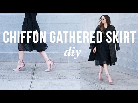 3d107fa1620e9 DIY 20 minute chiffon gathered skirt - YouTube