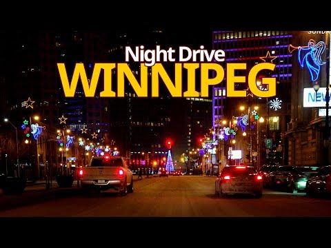 Winnipeg 4K - Night Drive - Driving Downtown - Manitoba, Canada