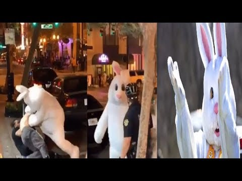 Watch the Easter Bunny throw punches in a street brawl....