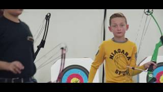 Tristan Griggs competes in bow Competition.