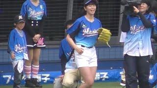 稲村亜美さんノーバン始球式 驚きの103km Japanese Baseball