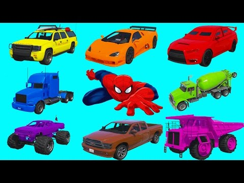 Thumbnail: Learning Vehicles Colors with Spiderman. Car and Truck Compilation. Cartoon for Kids