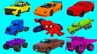 Learning Vehicles Colors with Spiderman. Car and Truck Compilation. Cartoon for Kids