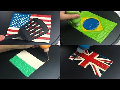 National Flag Pancake Art: USA, United Kingdom, Brazil, India