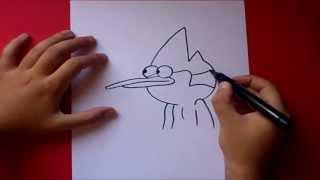 Como dibujar a Mordecai paso a paso - Un show mas   How to draw Mordecai - Regular show