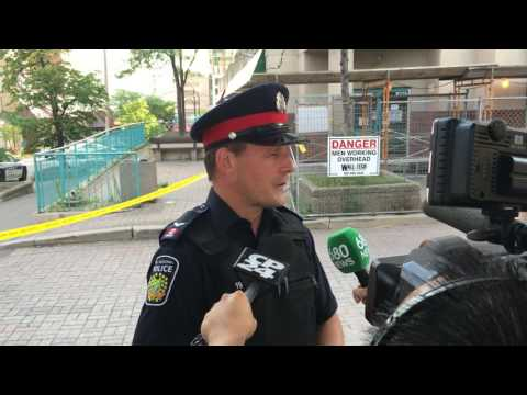Peel Police Const. Mark Fischer talks to media