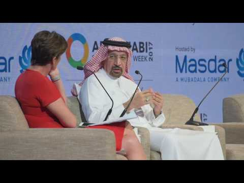 His Excellency Khalid A. Al-Falih with CNN's Becky Anderson ADSW 2017 Global Action Day