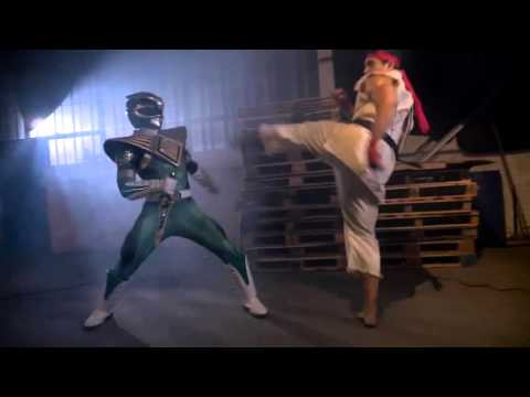 Green Ranger vs Ryu ( with go green ranger song)