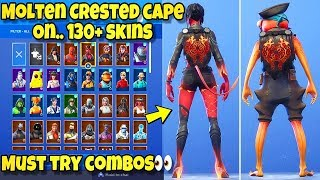 "NEW ""MOLTEN CRESTED CAPE"" BACK BLING Showcased With 130+ SKINS! Fortnite Battle Royale"