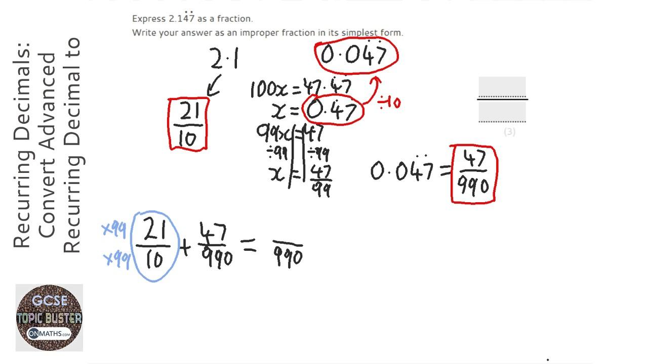 Recurring Decimals: Convert Recurring Decimal to Fraction