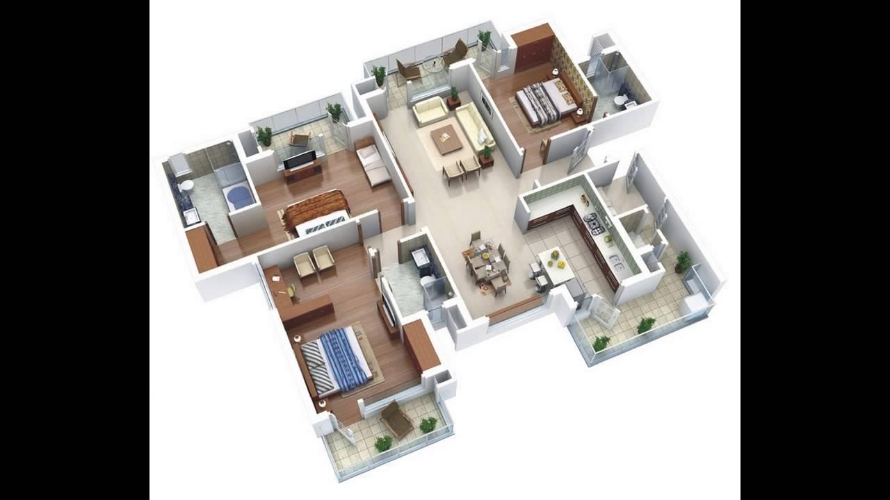 25 More 3 Bedroom 3D Floor Plans Design