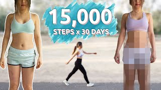 I Walked 15,000 Steps everyday for 30 days | Skinnier thighs? Weight Loss?