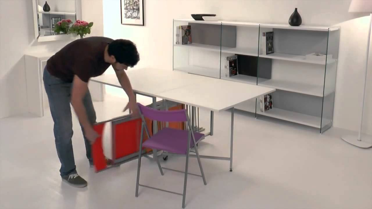 Archimede bianca consolle tavolo e 6 sedie youtube for Sedie richiudibili
