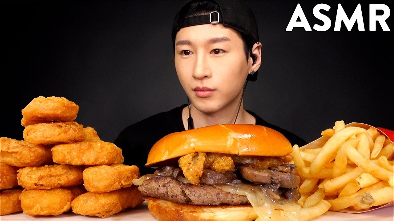 Asmr Mcdonalds Mushroom Burger Chicken Nuggets No Talking Eating Sounds Zach Choi Asmr
