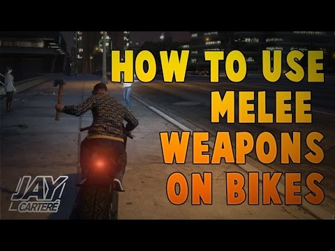 GTA Online - How To Use Melee Weapons On Bikes Tutorial - How To Melee On Bikes [Bikers Update]