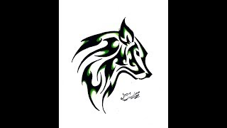 How To Draw 3d Wolf Tattoo In Paper Youtube