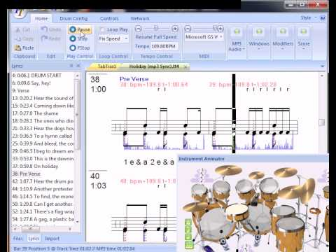 Greenday Holiday drum lesson with tab and mp3