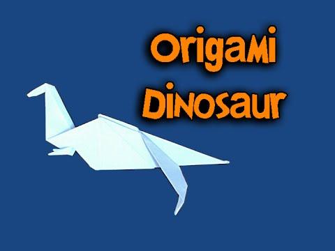 Origami - Dinossauro (How To Make Origami - Dinosaur ... - photo#38