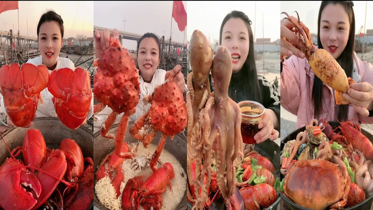 Eating show:Fisherman eating delicious seafood,Mukbang octopus,Tiger Prawn snail crab so well