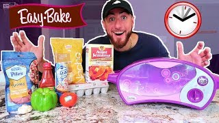 I Only Ate Food Using An EASY BAKE OVEN For 24 HOURS! (IMPOSSIBLE FOOD CHALLENGE)