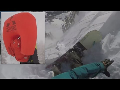 Avalanche Airbag Saves Snowboarder's Life As He's Dragged Do