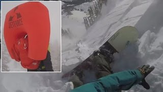 Avalanche Airbag Saves Snowboarder