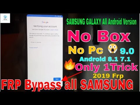 FRP Bypass all SAMSUNG Android 8 1 Oreo & 7 1 | Without HushSMS And Pc |  100% Done