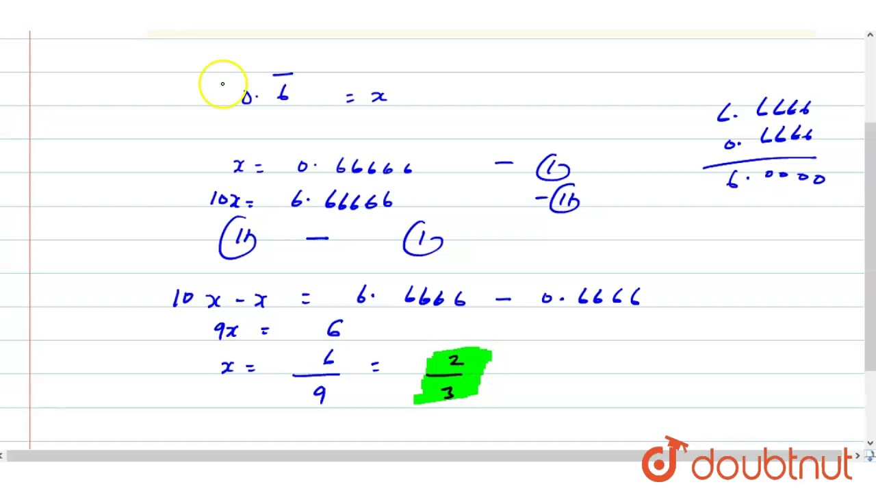 simplest form in terms of i  Express each of the following in the simplest form : (i) `5.bar(5)` (ii)  `5.bar(5)`