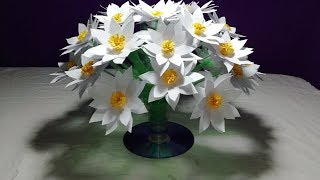 Make Beautiful White flower/ Empty plastic bottle vase making crafts - Water bottle Recycle flower