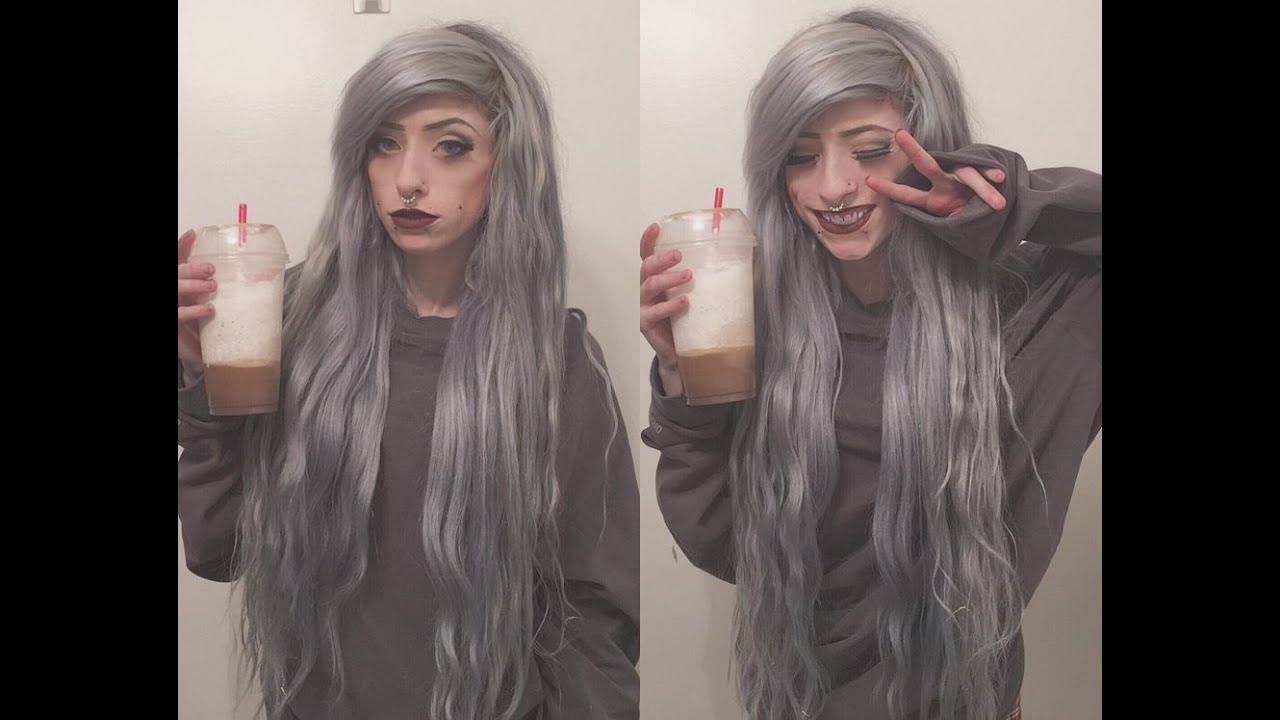 Dying my hair grey with arctic fox/removing red - YouTube