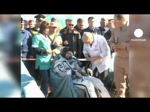 Safe landing for astronauts in Kazakhstan