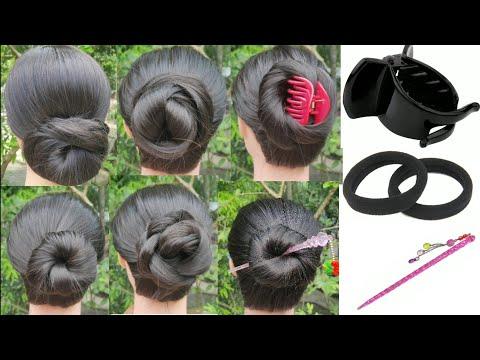 6 Bun Hairstyle For Thin To Medium Hair || Summer Bun Hairstyle || Simple Hairstyle || Bun || thumbnail