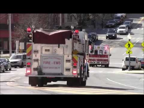 Saratoga Springs Fire Department Ambulance 5551 and Engine 552 Responding (Watch in HD!)