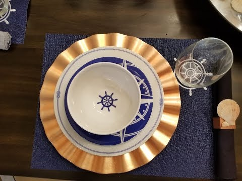 Summer Tablescape Reveal : Dollar Tree Nautical Tableware