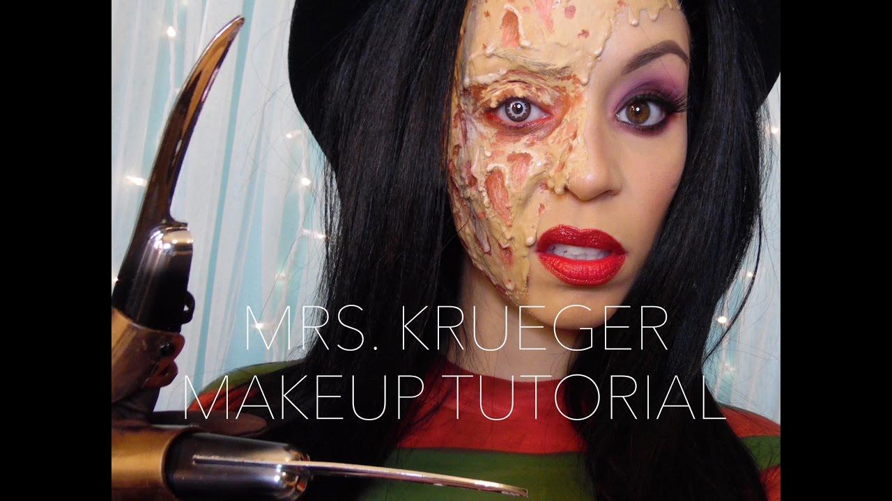 Mrs Krueger Halloween Makeup Tutorial YouTube
