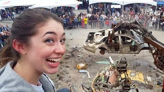 Katelyn Crushes Car w/ 26-ft Robot Arm