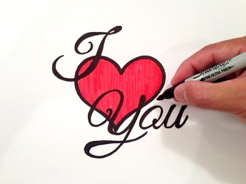 i love you heart drawings - photo #2