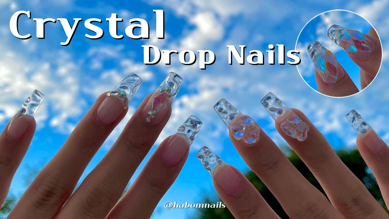 Eng) 물방울을 머금은 듯 투명한 크리스탈 네일💎 Crystal Drop nails💧