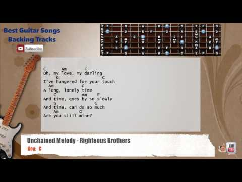 Unchained Melody - Righteous Brothers Guitar Backing Track with scale, chords and lyrics
