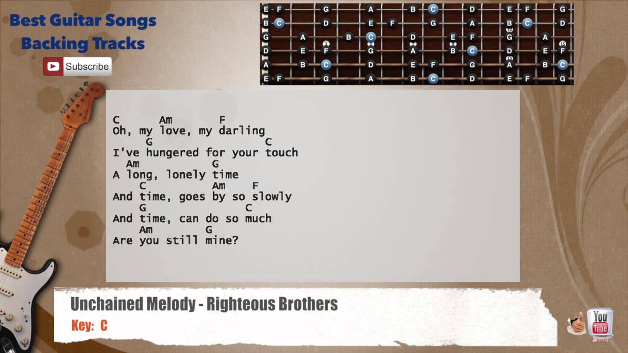 Unchained Melody Righteous Brothers Guitar Backing Track With