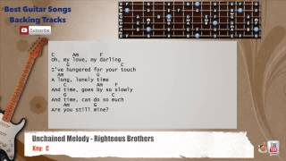 🎸 Unchained Melody - Righteous Brothers Guitar Backing Track with scale, chords and lyrics