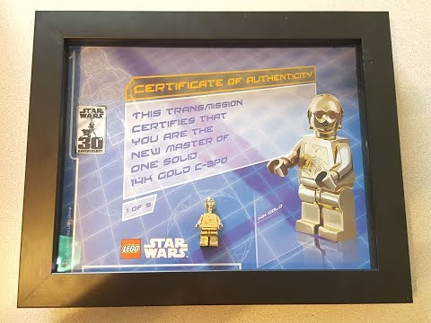 Lego Solid 14K Gold C-3PO Minifigure with certificate of authenticity-