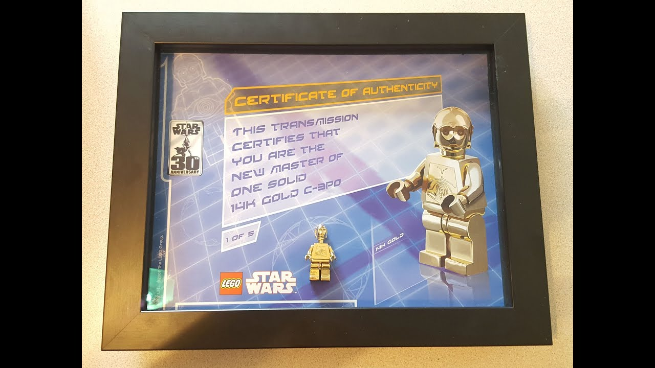 Lego Solid 14k Gold C 3po Minifigure With Certificate Of Authenticity Youtube