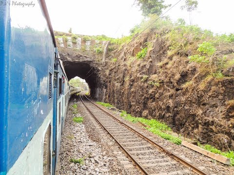 On-board 22129 Tulsi Express climbing a steep slope in the mountains