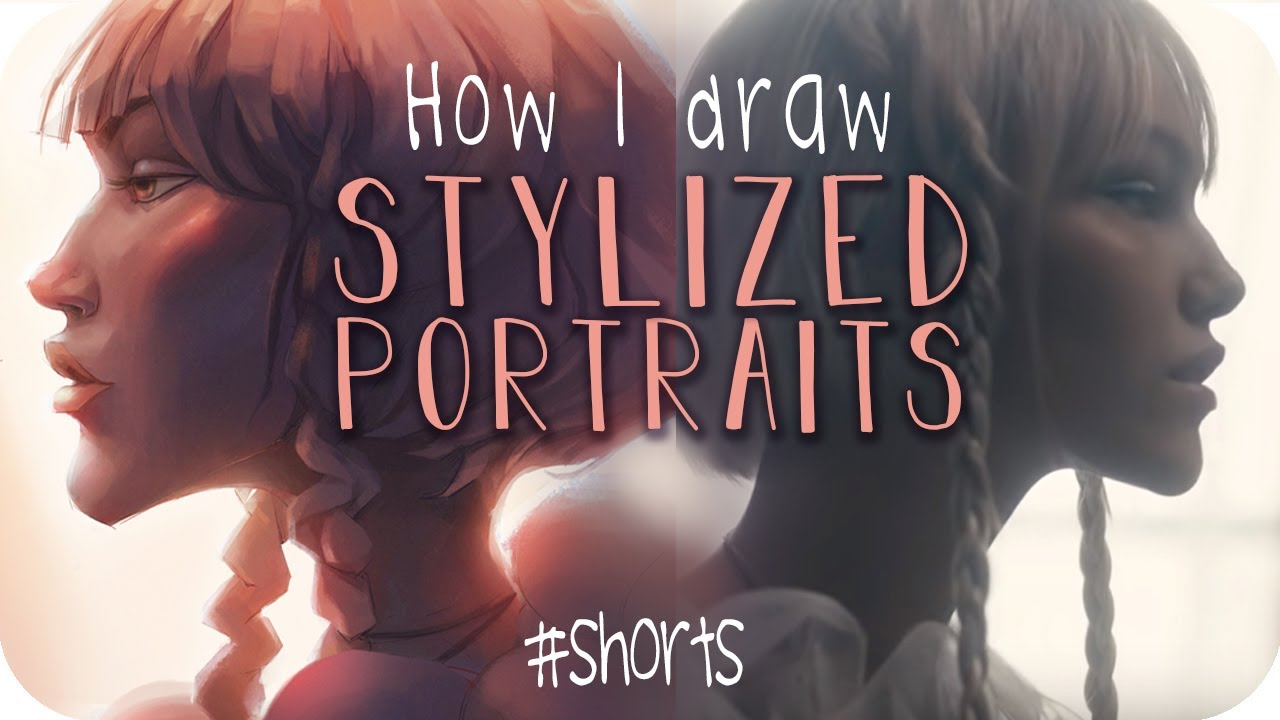 How I draw Stylized Portraits (60s) || #akitutorials (Shorts)