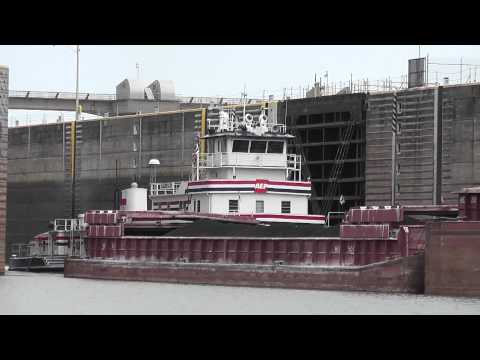 Ohio River Towboat and Barges exiting Meldahl Lock and Dam