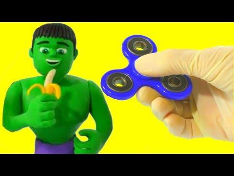 Hulk & Fidget Spinner Play Doh Cartoons w/ Frozen Elsa & Spiderman - Stop Motion Movies