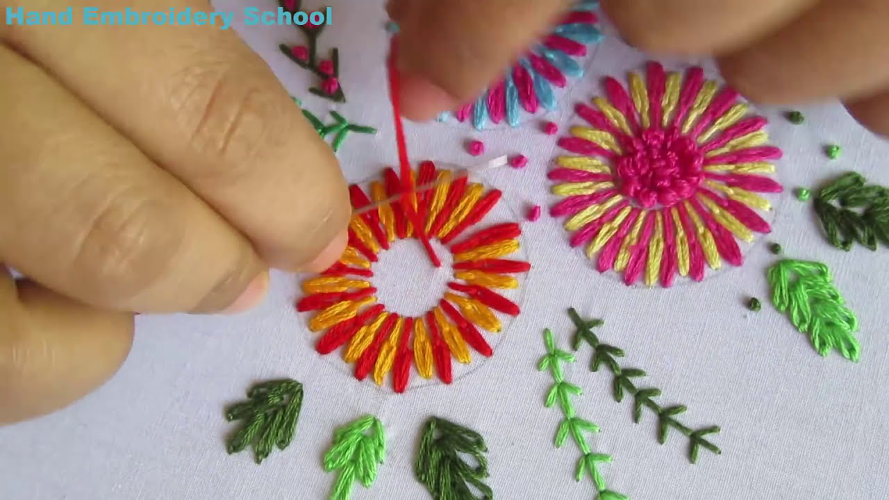 Hand embroidery lazy daisy stitch with french knot