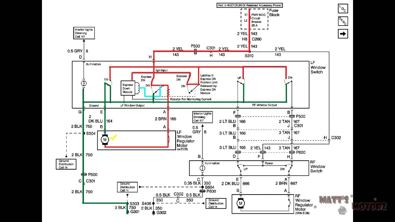 Power Window Wiring Diagram Explaination [1999 Pontiac