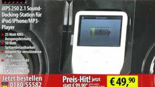 Hercules iXPS 250 2.1 Sound-Docking-Station für iPod/iPhone/MP3-Player
